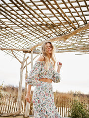 Crop top encolure Bardot Liberty
