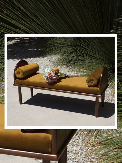 Yellow velvet bench