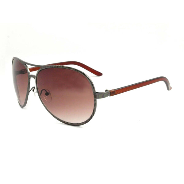 East Village Beveled Edge 'Jagger' Aviator in Gunmetal & Crystal Brown