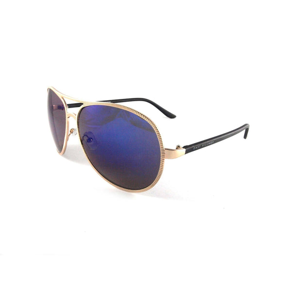 East Village Beveled Edge 'Jagger' Aviator in Light Gold & Black