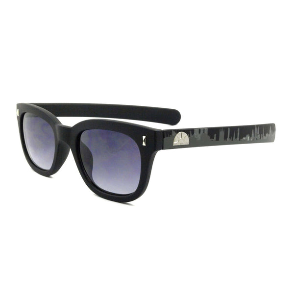 East Village Plastic 'Pacino' Sunglasses In Black With London Skyline Printed On Temples