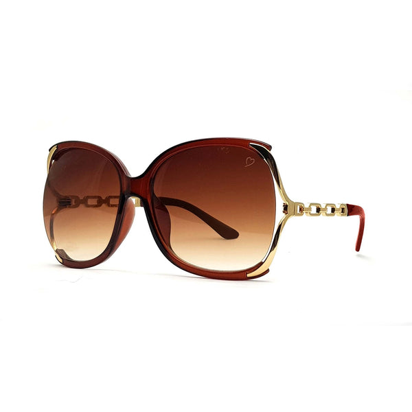 Ruby Rocks 'Cherry' Oversized Sunglasses In Crystal Brown