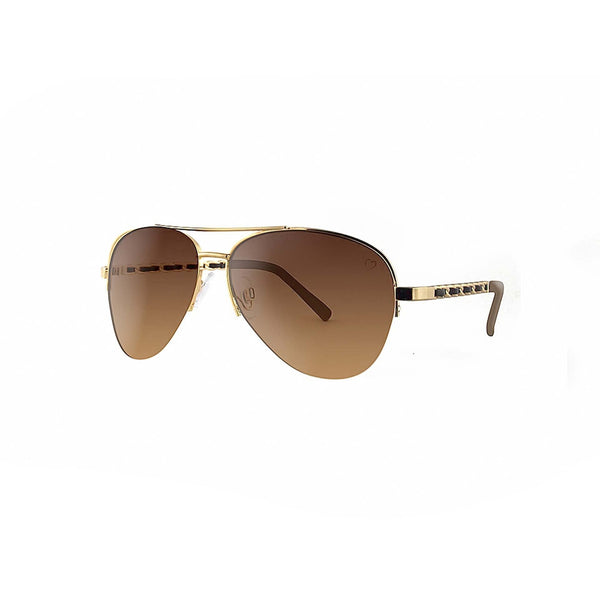 Ruby Rocks Metal 'New York' Aviator With Fabric Braid Detail Temple in Gold