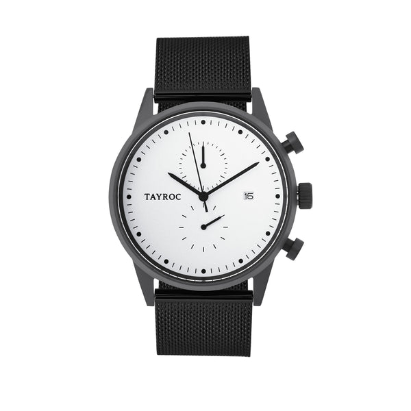 Tayroc Impression 42mm Stainless Steel Chronograph Watch White/Black