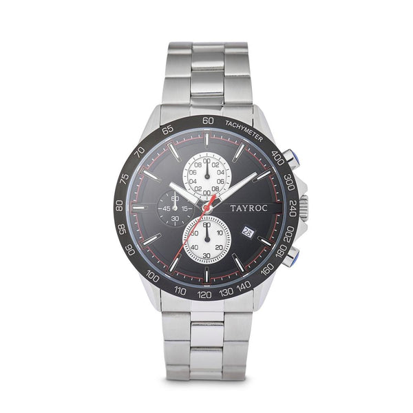 Tayroc Hampton 44mm Stainless Steel Chronograph Watch BLACK/SILVER