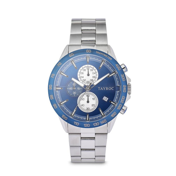Tayroc Hampton 44mm Stainless Steel Chronograph Watch BLUE/SILVER