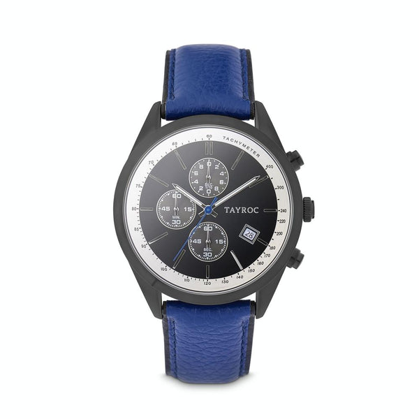Tayroc Highlander 44mm Stainless Steel Chronograph Watch BLACK/BLUE