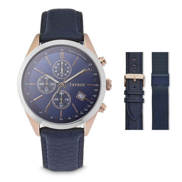 Tayroc Highlander 44mm Stainless Steel Chronograph Watch BLUE/ROSE