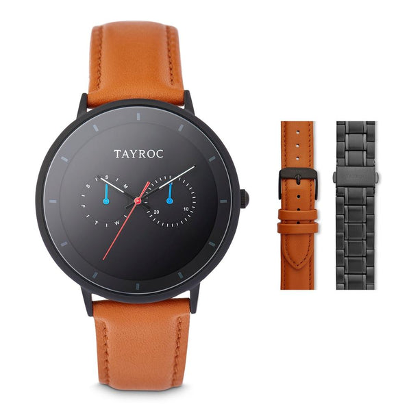 Tayroc Holte 42mm Multi Function Sports Watch BLACK/TAN