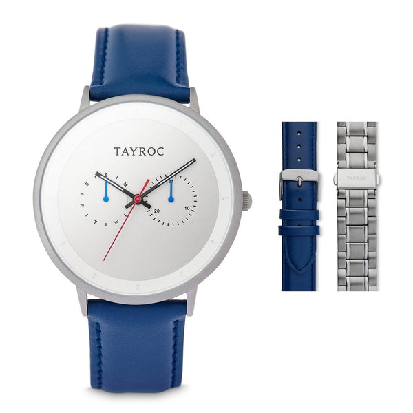 Tayroc Holte 42mm Multi Function Sports Watch SILVER/BLUE