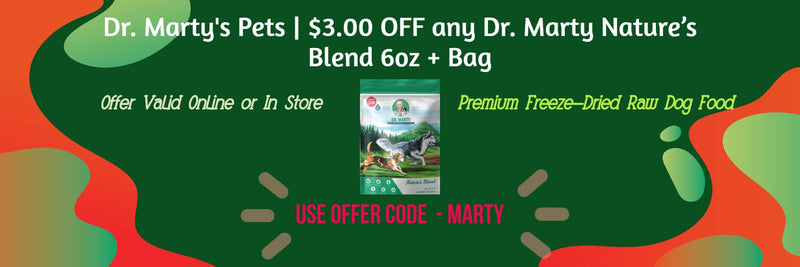 Dr Martys Premium Freeze-Dried Raw Dog Food Three Dollars Off