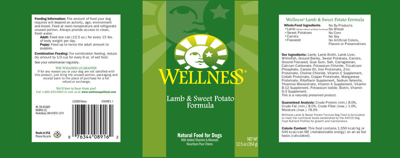 Wellness Complete Health Natural Lamb and Sweet Potato Recipe Wet Canned Dog Food - Mr Mochas Pet Supplies