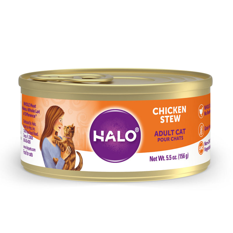 Halo Holistic Grain Free Adult Chicken Stew Canned Cat Food - Mr Mochas Pet Supplies