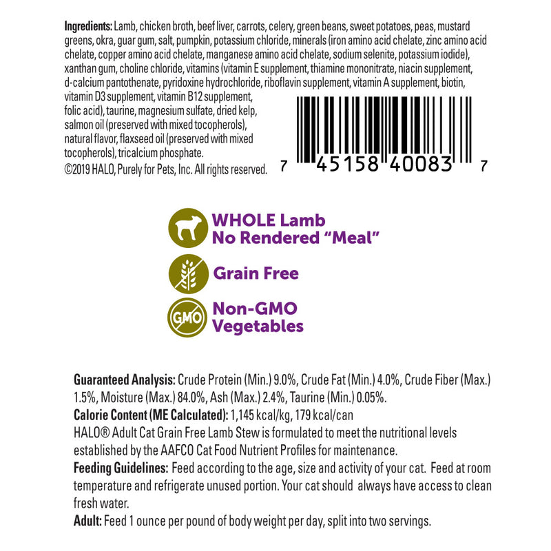 Halo Holistic Grain Free Adult Lamb Stew Canned Cat Food - Mr Mochas Pet Supplies