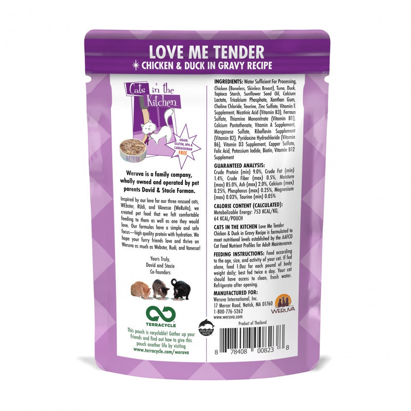 Weruva Cats In the Kitchen Love Me Tender Pouches Wet Cat Food - Mr Mochas Pet Supplies