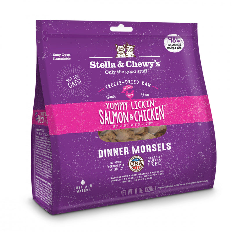 Stella & Chewy's Yummy Lickin' Salmon & Chicken Dinner Grain Free Freeze Dried Raw Cat Food - Mr Mochas Pet Supplies