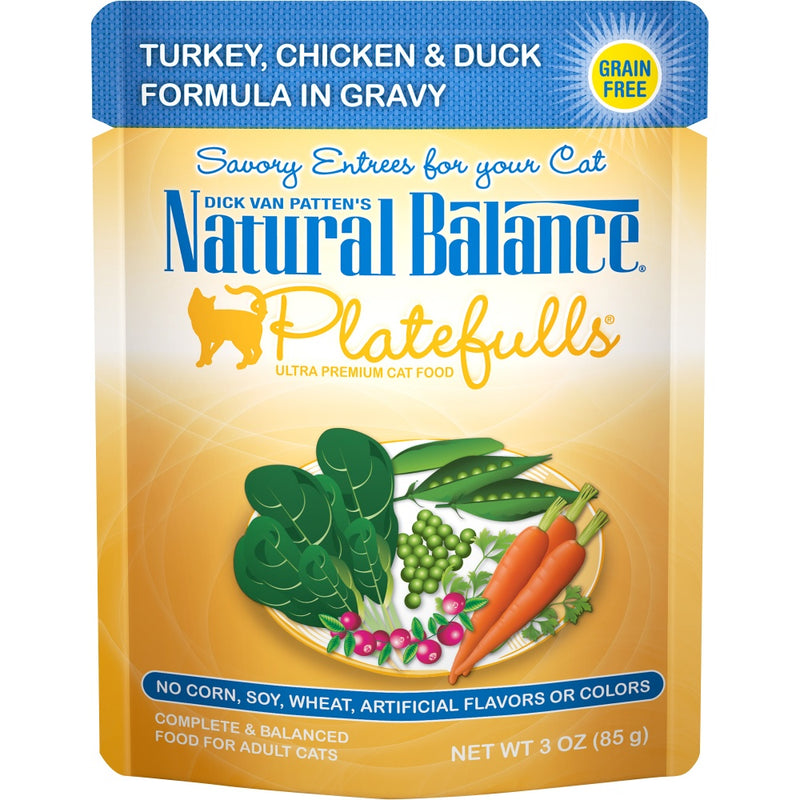 Natural Balance Platefulls Regular Grain Free Turkey Chicken and Duck in Gravy Pouch Wet Cat Food - Mr Mochas Pet Supplies
