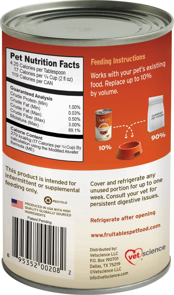 Fruitables Pumpkin SuperBlend Digestive Canned Supplement for Dogs & Cats - Mr Mochas Pet Supplies