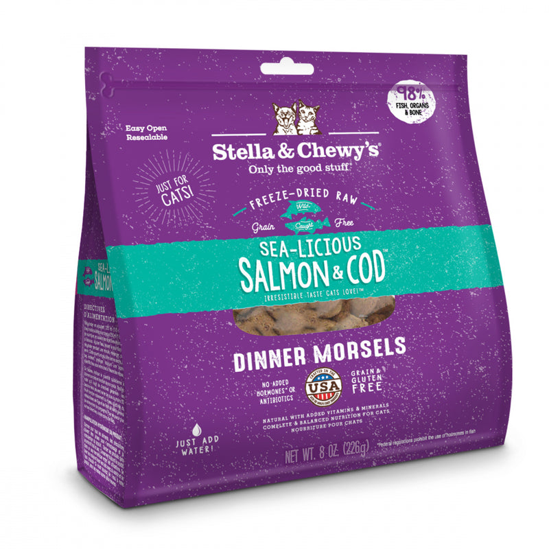 Stella & Chewy's Sea-Licious Salmon & Cod Dinner Morsels Grain Free Freeze Dried Raw Cat Food - Mr Mochas Pet Supplies