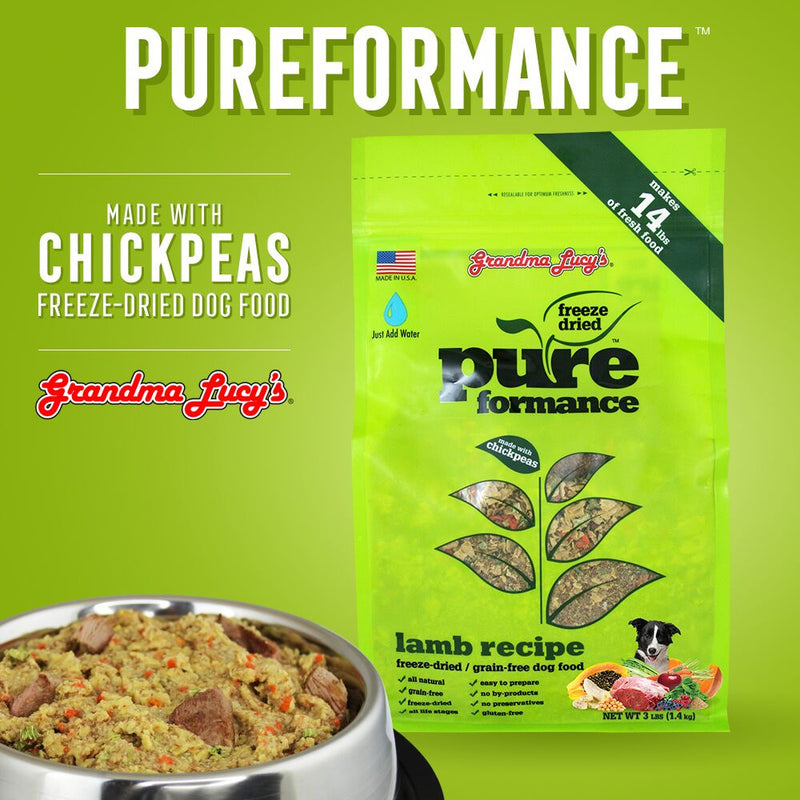 Grandma Lucy's Pureformance Lamb and Chickpea Freeze Dried Grain Free Dog Food - Mr Mochas Pet Supplies