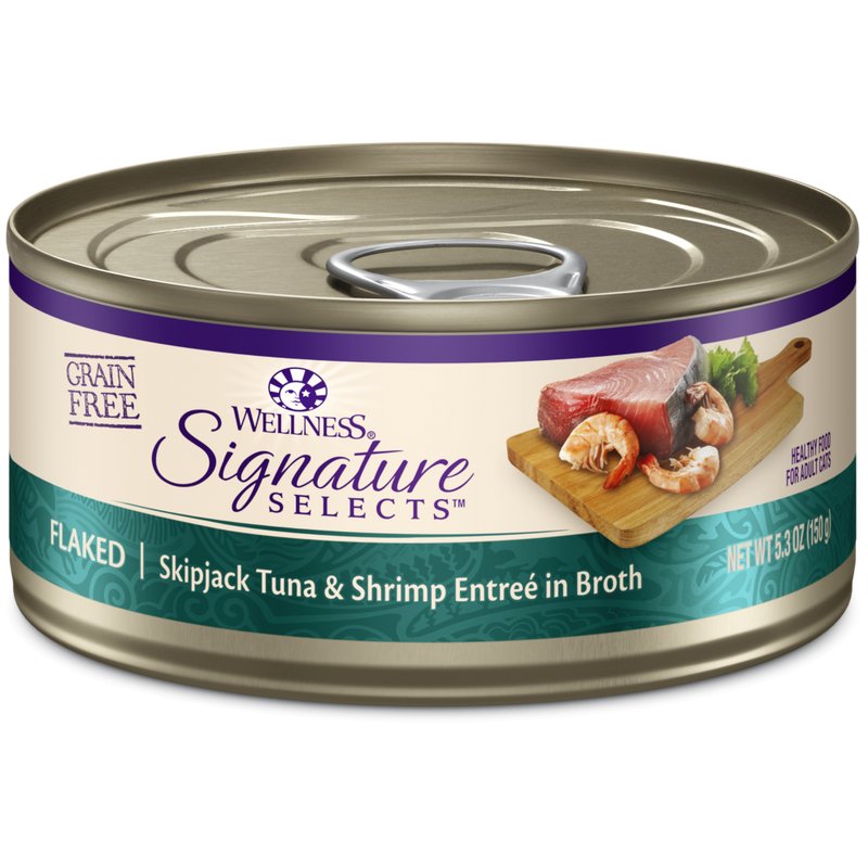 Wellness Signature Selects Grain Free Natural Skipjack Tuna with Shrimp Entree in Broth Wet Canned Cat Food - Mr Mochas Pet Supplies