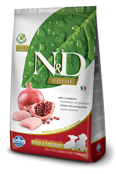 Farmina N&D Prime Natural & Delicious Grain Free Mini & Medium Puppy Chicken & Pomegranate Dry Dog Food - Mr Mochas Pet Supplies