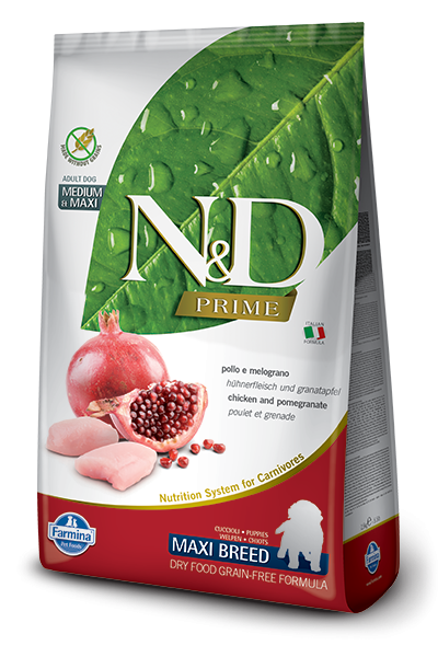 Farmina N&D Natural and Delicious Grain Free Maxi Puppy Chicken & Pomegranate Dry Dog Food - Mr Mochas Pet Supplies