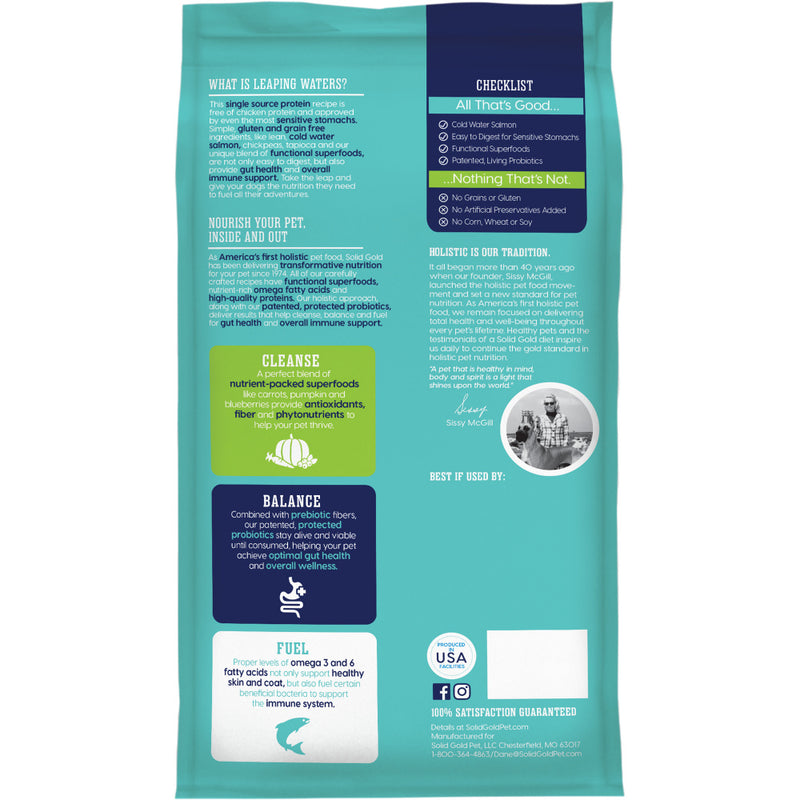 Solid Gold Leaping Waters Adult Cold Water Salmon and Vegetable Recipe Dry Dog Food - Mr Mochas Pet Supplies