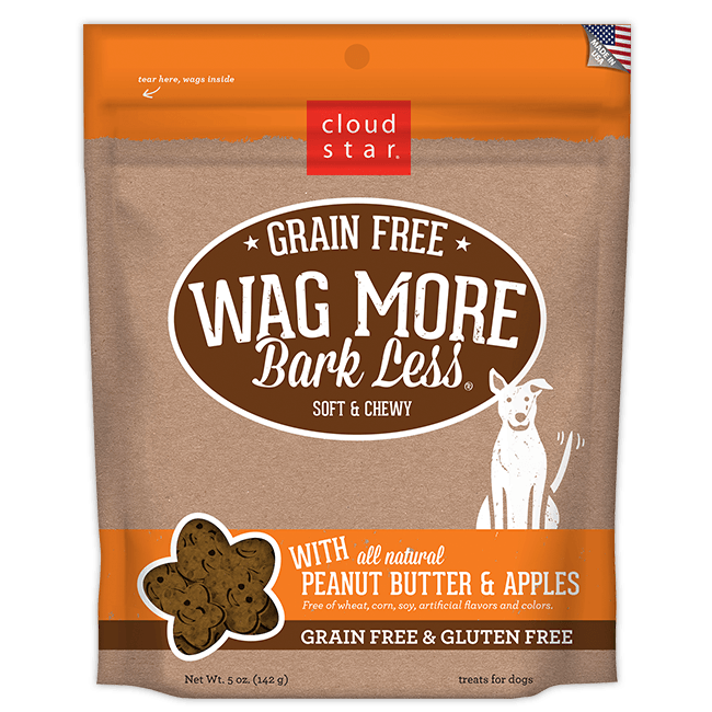 Cloud Star Wag More Bark Less Soft and Chewy Grain Free Peanut Butter and Apples Dog Treats - Mr Mochas Pet Supplies