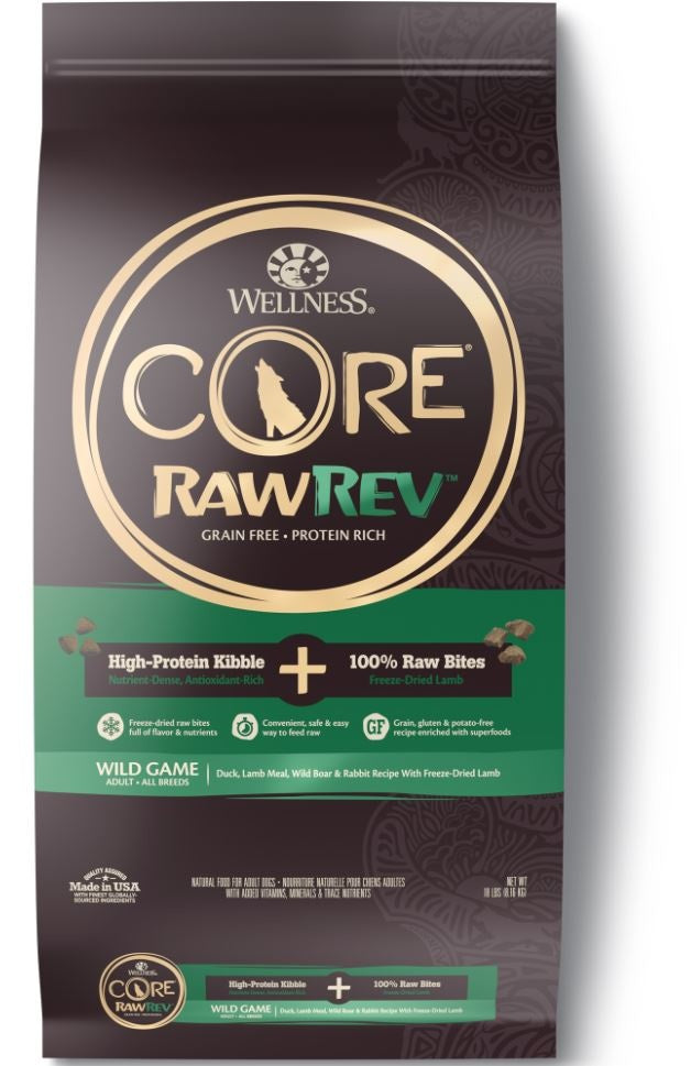 Wellness CORE RawRev Natural Grain Free Wild Game Duck, Lamb, Wild Boar & Rabbit with Freeze Dried Lamb Dry Dog Food - Mr Mochas Pet Supplies