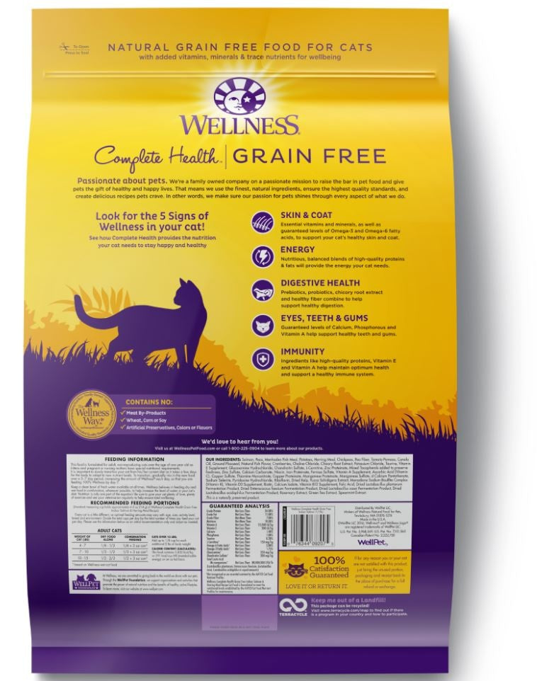 Wellness Complete Health Natural Indoor Adult Grain Free Salmon and Herring Dry Cat Food - Mr Mochas Pet Supplies