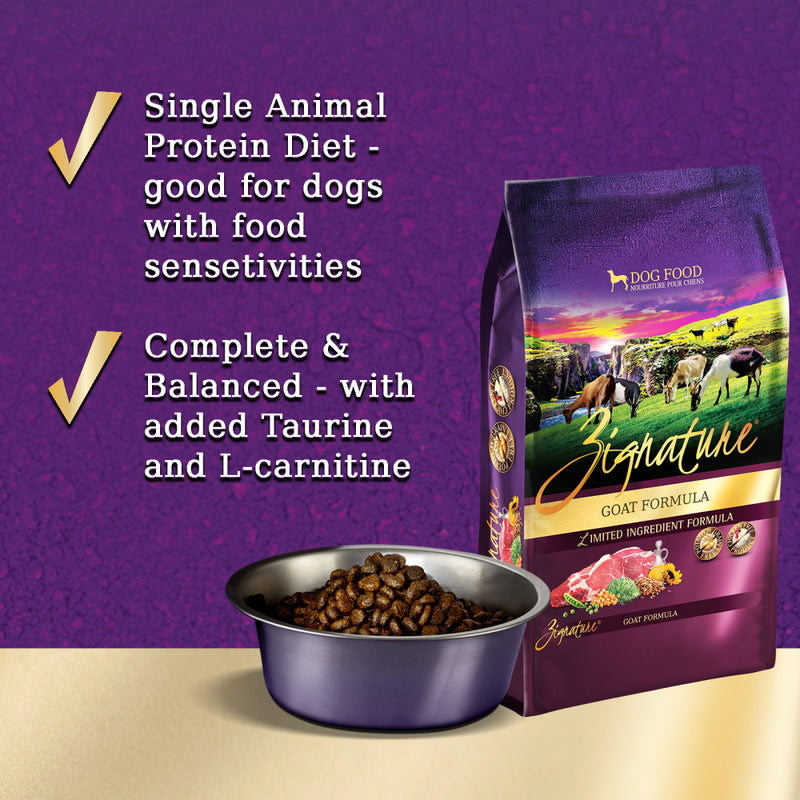 Zignature Limited Ingredient Diet Grain Free Goat Recipe Dry Dog Food - Mr Mochas Pet Supplies