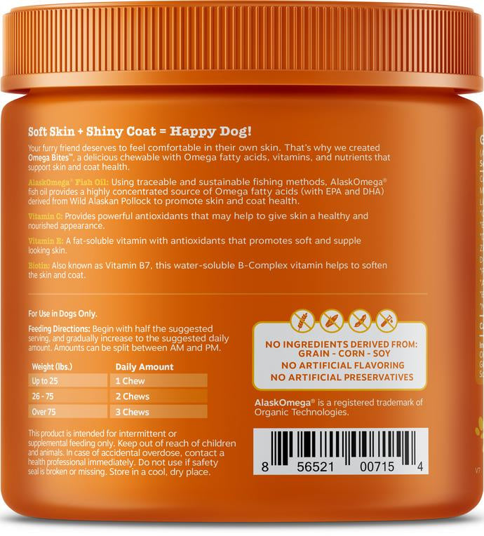 Zesty Paws Omega Bites For Skin & Coat Support Chicken Flavor with Alaskan Fish Oil Soft Chews for Dogs - Mr Mochas Pet Supplies