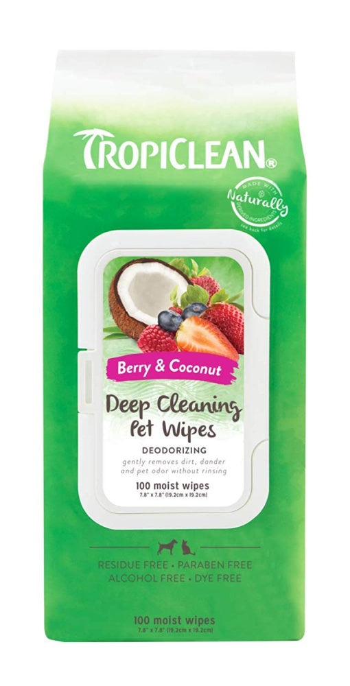 TropiClean Deep Cleaning Berry & Coconut Deodorizing Wipes for Dogs & Cats - Mr Mochas Pet Supplies