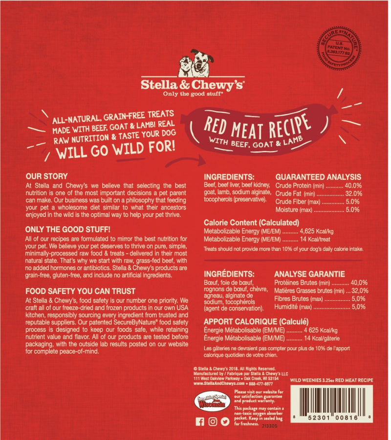 Stella & Chewy's Wild Weenies Grain Free Red Meat Recipe Freeze Dried Raw Dog Treats - Mr Mochas Pet Supplies