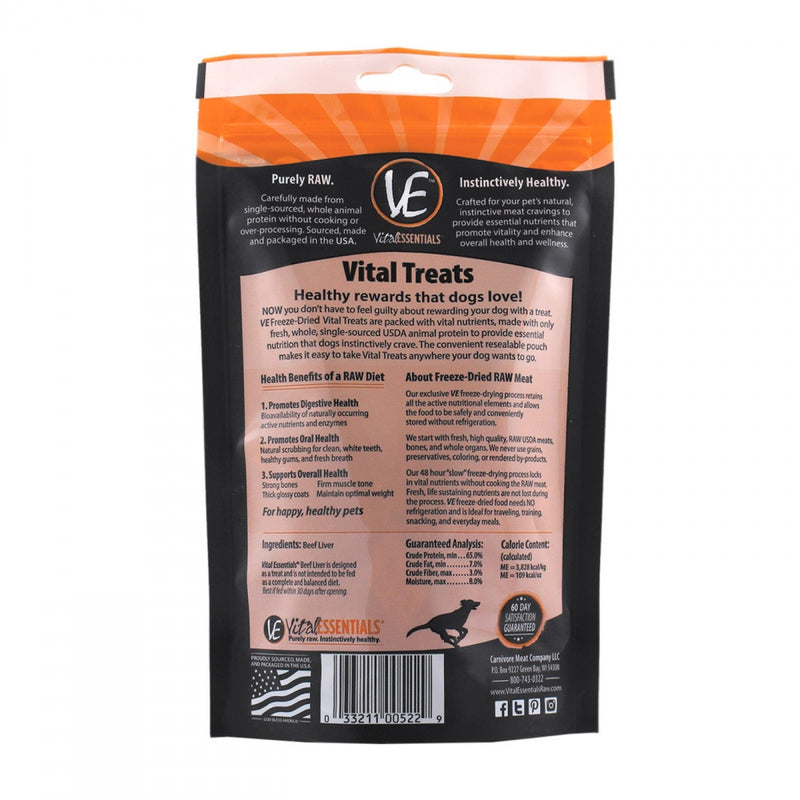 Vital Essentials Freeze Dried Grain Free Beef Liver Limited Ingredient Dog Treats - Mr Mochas Pet Supplies