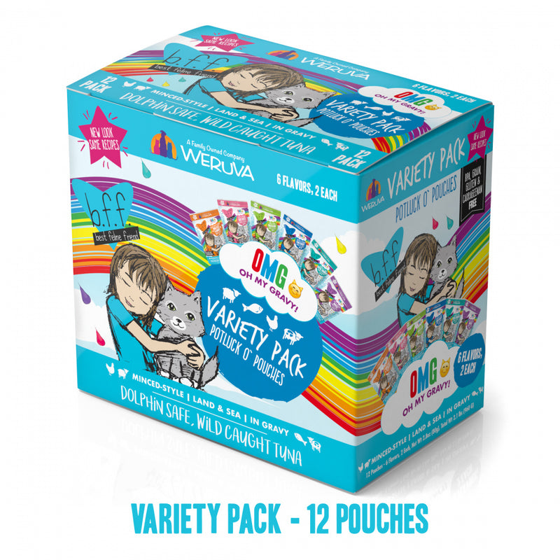 Weruva Grain Free BFF OMG Potluck O' Pouches Variety Pack Cat Food Pouches - Mr Mochas Pet Supplies