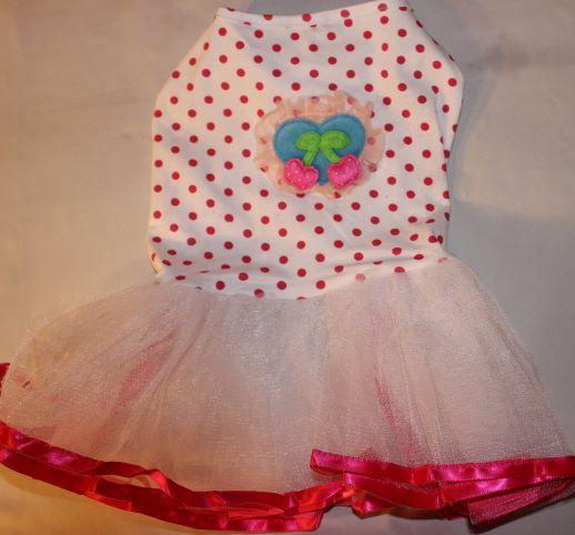 Pink Polka Dot Dress with apples - Mr Mochas Pet Supplies