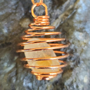 Spiral Cage Necklace Copper Plated