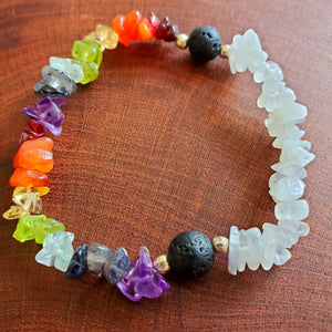 Chakra Bracelet with Rainbow Moonstone & Lava Beads