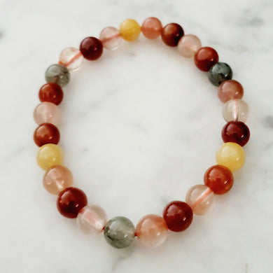 Multi Color Rutilated Quartz  & Quartz Bracelet