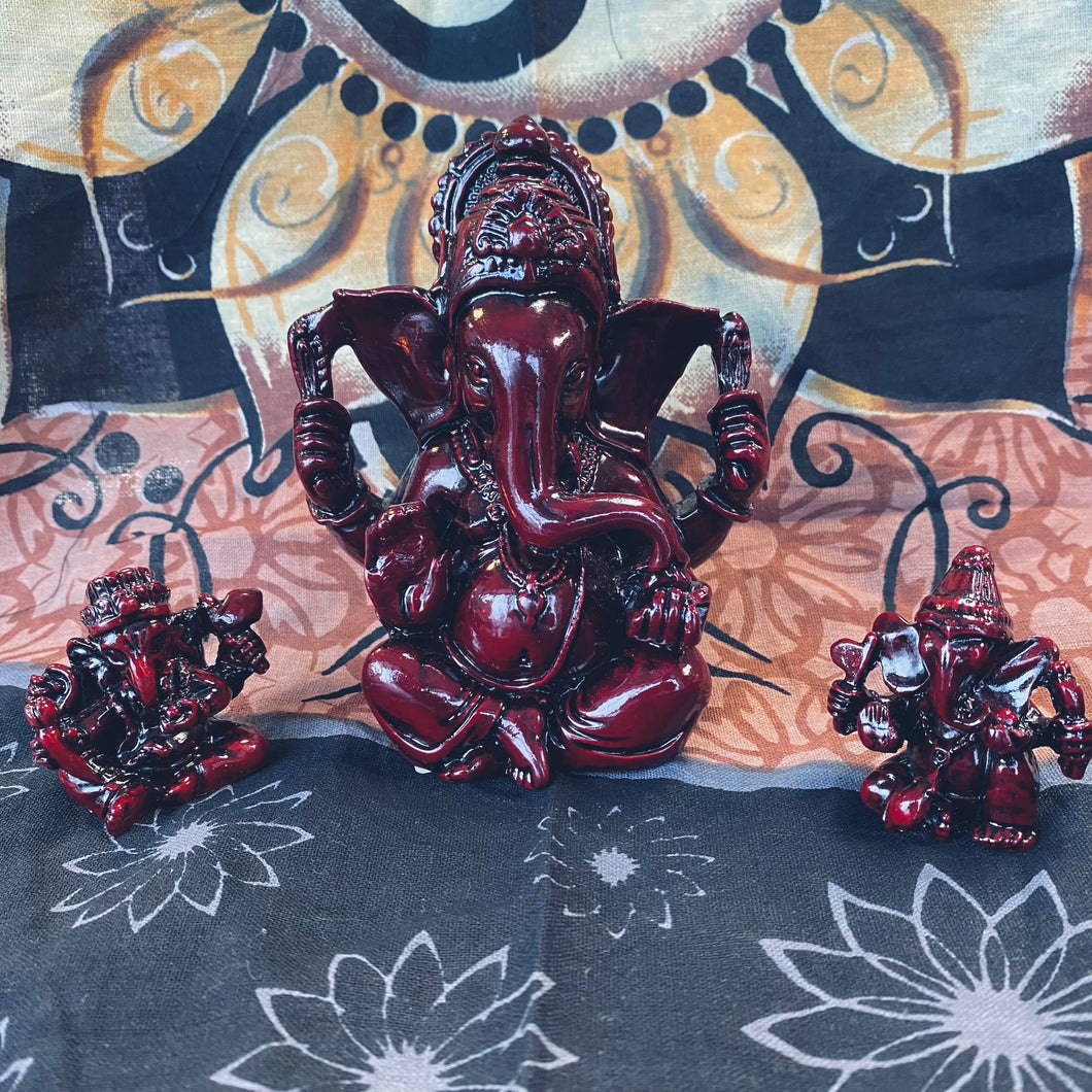 Ganesha Statuettes in two sizes - 1.75 inches tall and 4.25 inches tall.