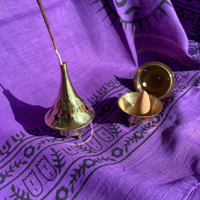 3 inch tall brass incense burner that can be used with cones, sticks or charcoal discs for powder incense and herbs