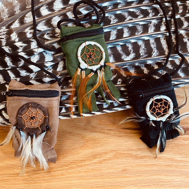 Dream catcher Bags with cord necklace for stones or charms