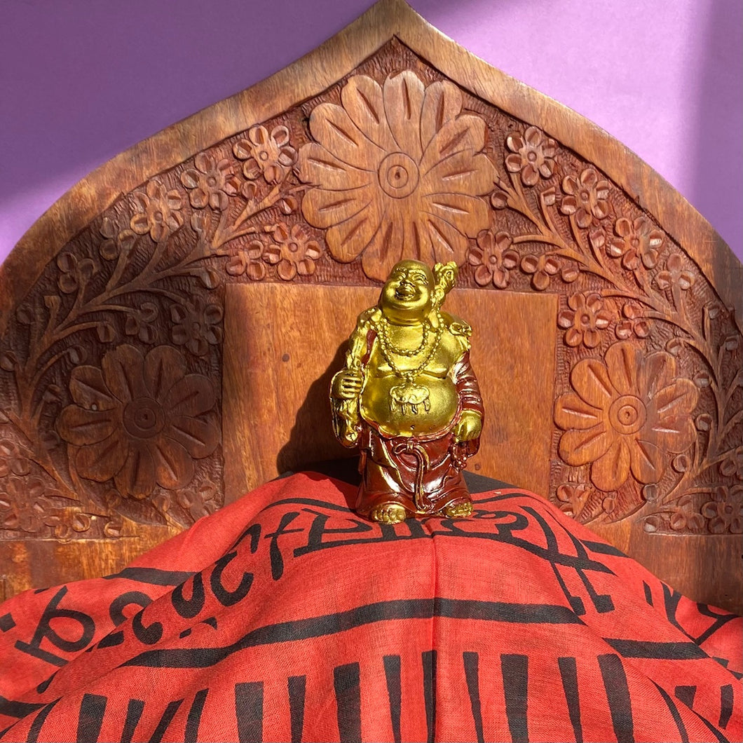 Laughing Buddha Statue gold and red
