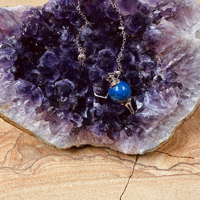 Lapis sphere pendulum with silver point and chain