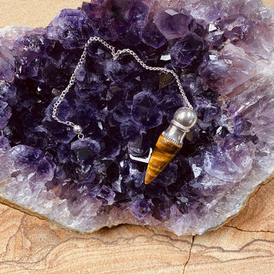Tiger eye point pendulum with silver chain