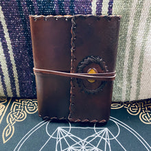 Load image into Gallery viewer, leather bound journal with tigers eye stone
