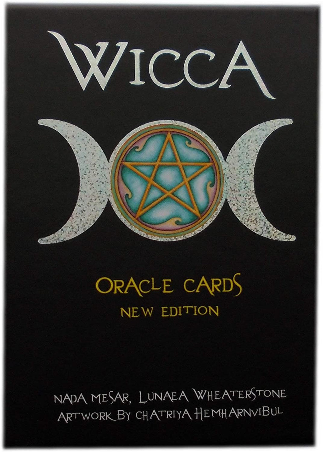 Wicca Oracle card box cover, featuring a pentacle inside a triple moon symbol