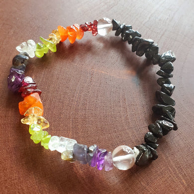 Chakra Chip Bracelet with Black Tourmaline